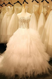 Puffy Ball Gown Strapless Corset Back Tulle Ruffle Layered Wedding Dress Chapel Train