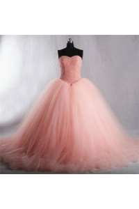 Puffy Ball Gown Strapless Pearl Pink Tulle Beaded Prom Dress Corset Back