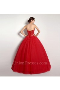 Puffy Ball Gown Strapless Red Tulle Beaded Corset Prom Dress