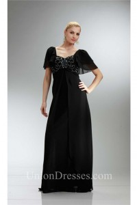 Queen Anne Neckline Empire Waist Black Chiffon Mother Evening Dress With Sleeves