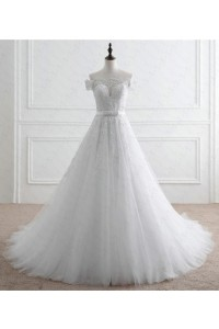 Romantic A Line Off The Shoulder Tulle Lace Beaded Wedding Dress With Bow Sash