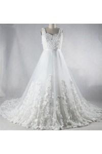 Romantic A Line Sweetheart Corset Back Tulle Flower Wedding Dress Chapel Train