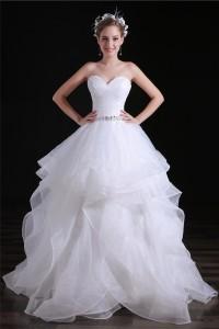 Romantic Ball Gown Sweetheart Organza Ruffle Layered Wedding Dress Corset Back