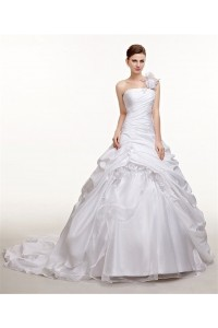 Royal Ball Gown One Shoulder Taffeta Pick Up Skirt Wedding Dress Chapel Train
