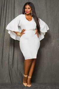 Scoop Neck Cape Sleeve Short White Plus Size Women Dress