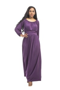 Scoop Neck Maxi Length Purple Jersey Dress With Sleeves
