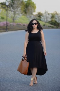 Scoop Neck Sleeveless High Low Plus Size Black Casual Dress