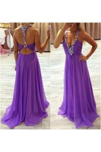Sexy A Line Deep V Neck Halter Open Back Long Lilac Chiffon Beaded Prom Dress
