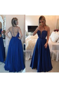 Sexy A Line Illusion Neckline Long Royal Blue Satin Tulle Beaded Prom Dress With Sleeves