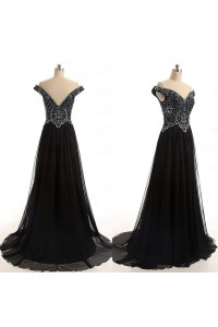Sexy A Line Off The Shoulder Long Black Chiffon Beaded Evening Prom Dress