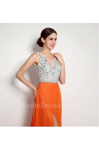 Sexy A Line V Neck Backless High Slit Long Orange Chiffon Beaded Prom Dress