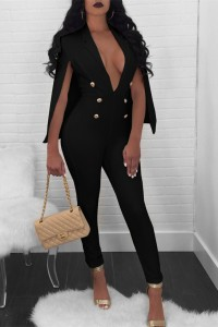 Sexy Deep V Neck Gold Button Black Women Jumpsuit With Cape