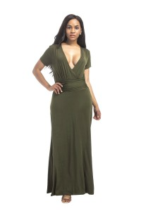 Sexy Deep V Neck Long Olive Green Jersey Dress With Sleeves