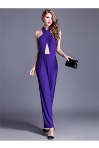 Sexy Halter Cut Out Purple Jersey Formal Occasion Evening Jumpsuit