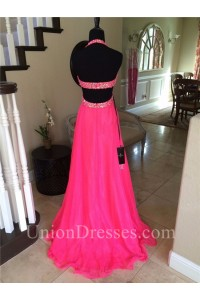 Sexy Halter Side Cut Out Long Hot Pink Chiffon Beaded Prom Dress