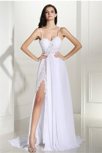 Sexy High Slit Open Back Spaghetti Straps Lace Chiffon Wedding Prom Dress