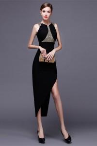 Sexy High Slit Tea Length Black Satin Beaded Special Occsaion Evening Dress