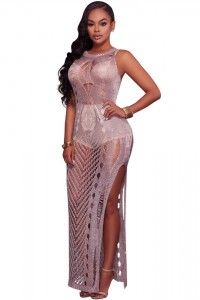 Sexy Hollow Out Knitted Long Beach Dress With Slit