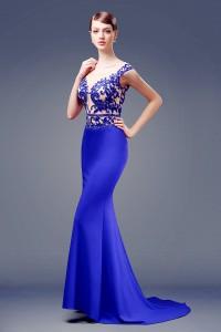 Sexy Illusion Neckline See Through Back Cap Sleeve Royal Blue Satin Beaded Evening Dress