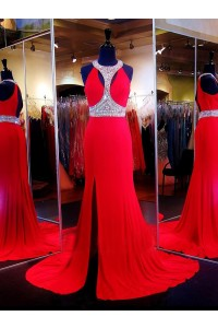 Sexy Mermaid High Neck Cut Outs Open Back Red Jersey Beaded Prom Dress