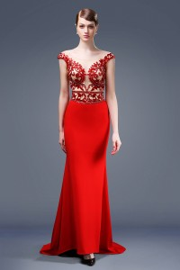 Sexy Mermaid Illusion Neckline Sheer Back Cap Sleeve Red Satin Beaded Evening Dress