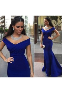 Sexy Mermaid Off The Shoulder Royal Blue Satin Ruched Evening Prom Dress
