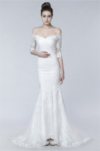 Sexy Mermaid Off The Shoulder Sheer Back Lace Wedding Dress With Sleeves