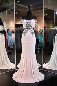 Sexy Mermaid Off The Shoulder Side Cutouts White Chiffon Beaded Evening Prom Dress