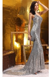 Sexy Mermaid One Shoulder Backless Silver Sequin Special Occasion Evening Dress With Train