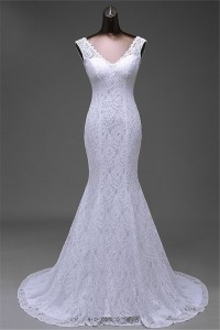 Sexy Mermaid V Neck Low Back Lace Wedding Dress Corset Back