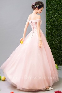 Sexy Off The Shoulder High Low Blush Pink Tulle Outdoor Garden Wedding Dress No TRAIN