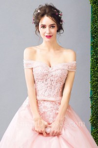 Sexy Off The Shoulder High Low Blush Pink Tulle Outdoor Garden Wedding Dress