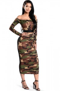 Sexy Off The Shoulder Tea Length Two Piece Women Camo Outfit Suit With Sleeves