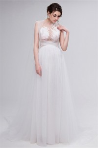 Sexy Sheath See Through Tulle Applique Destination Wedding Dress