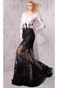 Sexy Sheer See Through Long Sleeve Black And White Lace Evening Prom Dress