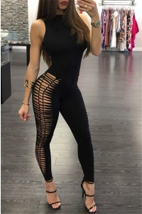 Sexy Sleeveless Open Back Hollow Out Bodycon Rompers Women Jumpsuit