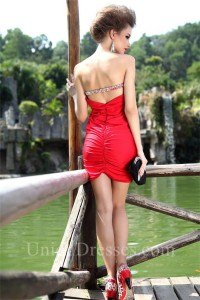 Sexy Strapless Mini Red Jersey Beaded Cocktail Party Club Dress