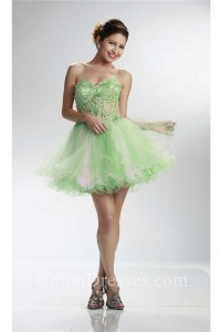 Sexy Sweetheart Short Green And Pink Tulle Beaded Tutu Prom Dress
