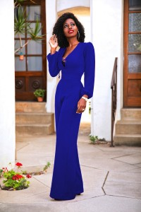 Sexy Tie V Neck Long Sleeve Royal Blue Wide Leg Women Jumpsuit