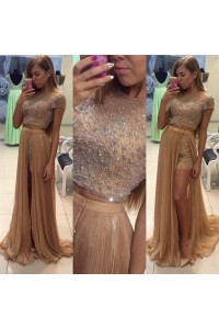 Sexy Two Piece Long Gold Chiffon Beaded Prom Dress With Sleeves