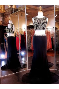 Sexy Two Piece Open Back Long Black Jersey Gold Beaded Prom Dress