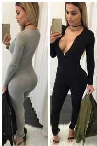 Sexy V Neck Long Sleeve Bodycon Casual Rompers Women Jumpsuit