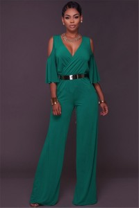 Sexy V Neck Ruffle Sleeve Wide Legged Pants Rompers Women Jumpsuit With Belt