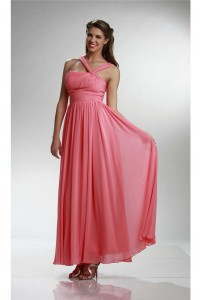 Sheath Asymmetrical Strap Long Coral Chiffon Bridesmaid Dress