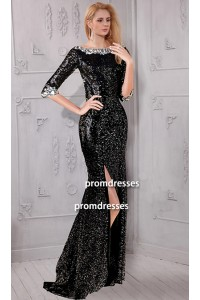 Sheath Bateau Neck High Slit Backless Black Sequin Evening Prom Dress With Sleeves