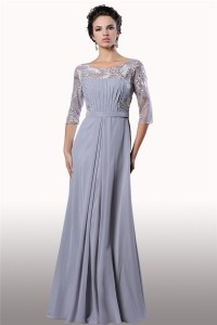Sheath Bateau Neck Long Silver Chiffon Tulle Lace Sleeve Evening Dress With Sash