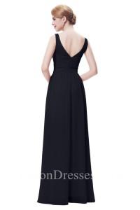 Sheath Bateau Neckline V Back Long Navy Blue Chiffon Bridesmaid Dress