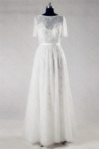 Sheath Boat Neck Short Sleeve Lace Beaded Destination Wedding Dress With Sash