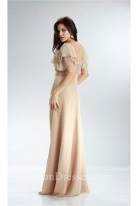 Sheath Empire Waist Champagne Chiffon Beaded Mother Evening Dress With Sleeves