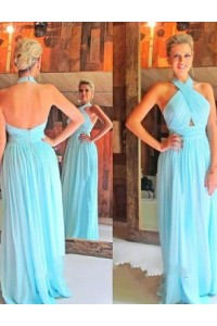 Sheath Halter Backless Long Light Blue Chiffon Ruched Evening Bridesmaid Dress